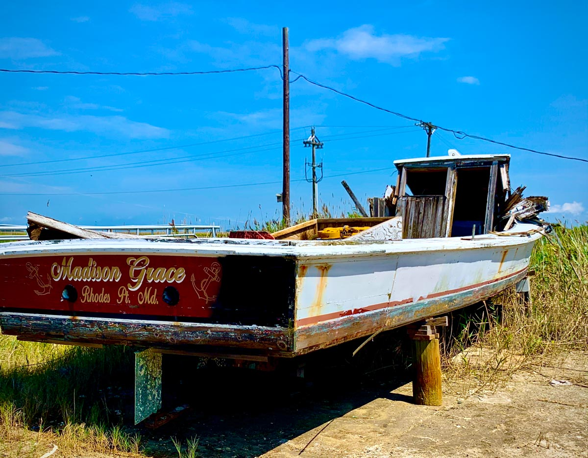 Old boat in Rhodes Point, Smith Island