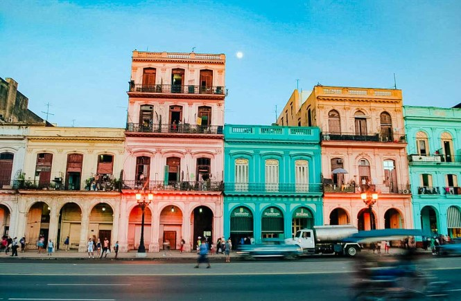 Colorful buildings on a Havana street