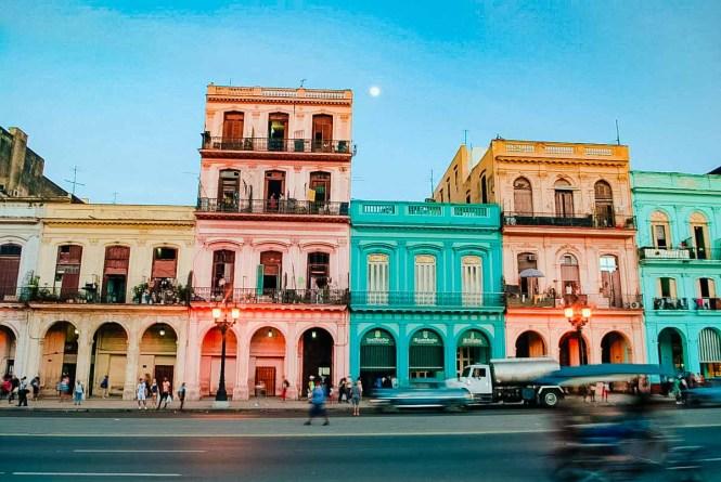 Colorful buildings on a Havana street
