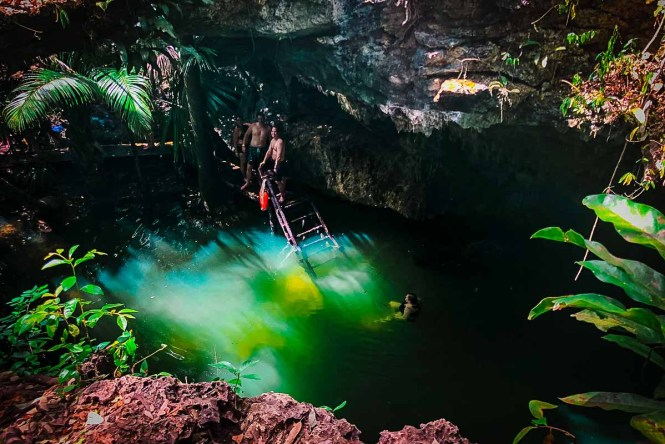 A cenote in Cozumel