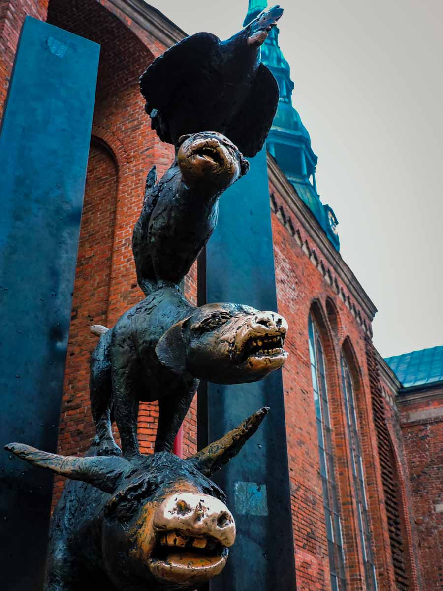 Bremen Town Musicians statue in Riga