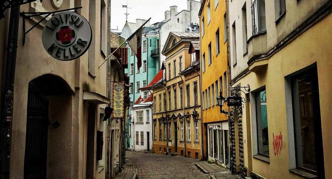 Colorful street in downtown Tallinn