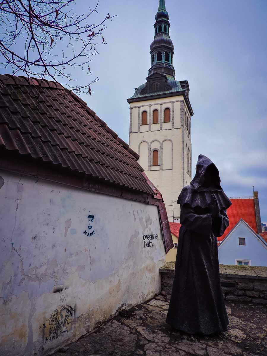 Three Monks statue in Tallinn, Estonia