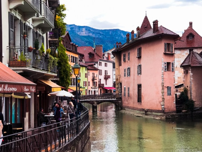 Colorful buildings on a canal in Annecy, France