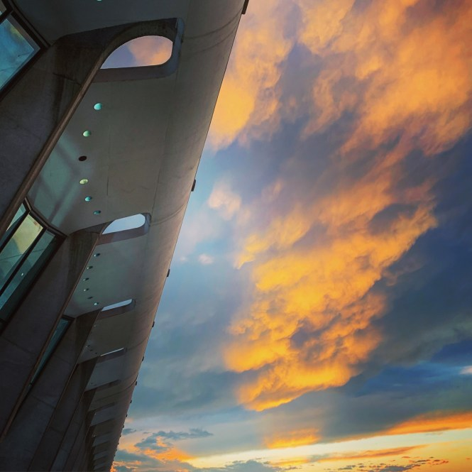 Sunset at Dulles Airport on our way to Lisbon, Portugal