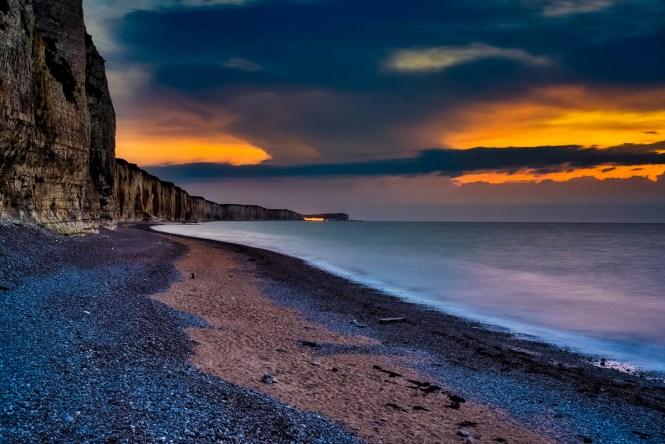 Normandy coast at sunset