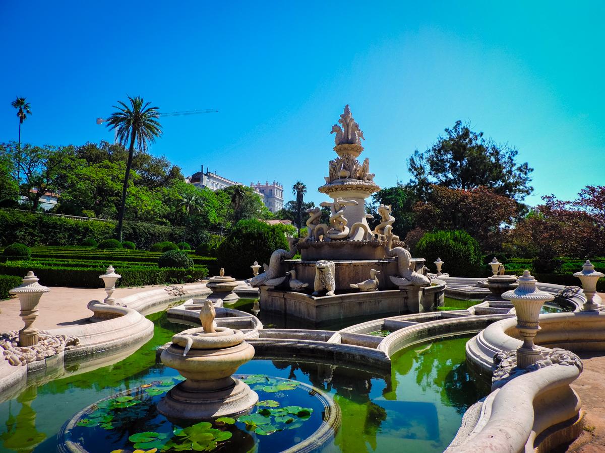 Ajuda Botanical Gardens fountain in Lisbon's Belem neighborhood