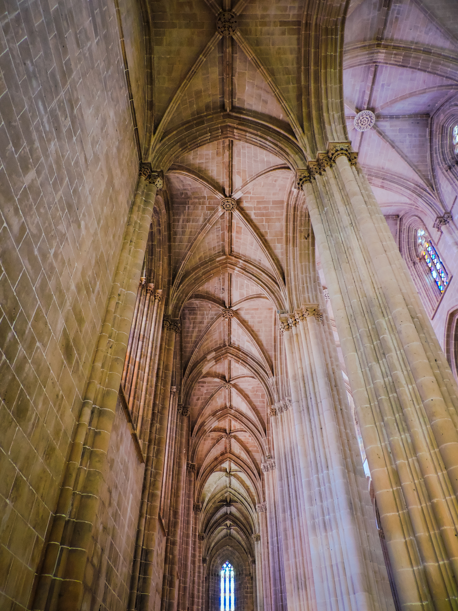 Columns and vaulted ceilings in Batalha's Cathedral