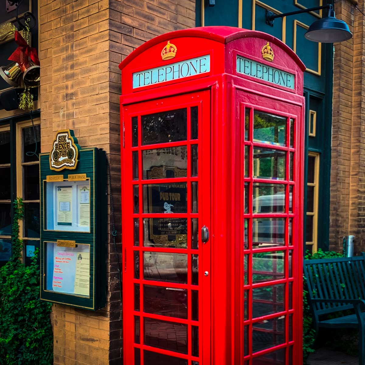 English phone booth in downtown Savannah outside a traditional pub