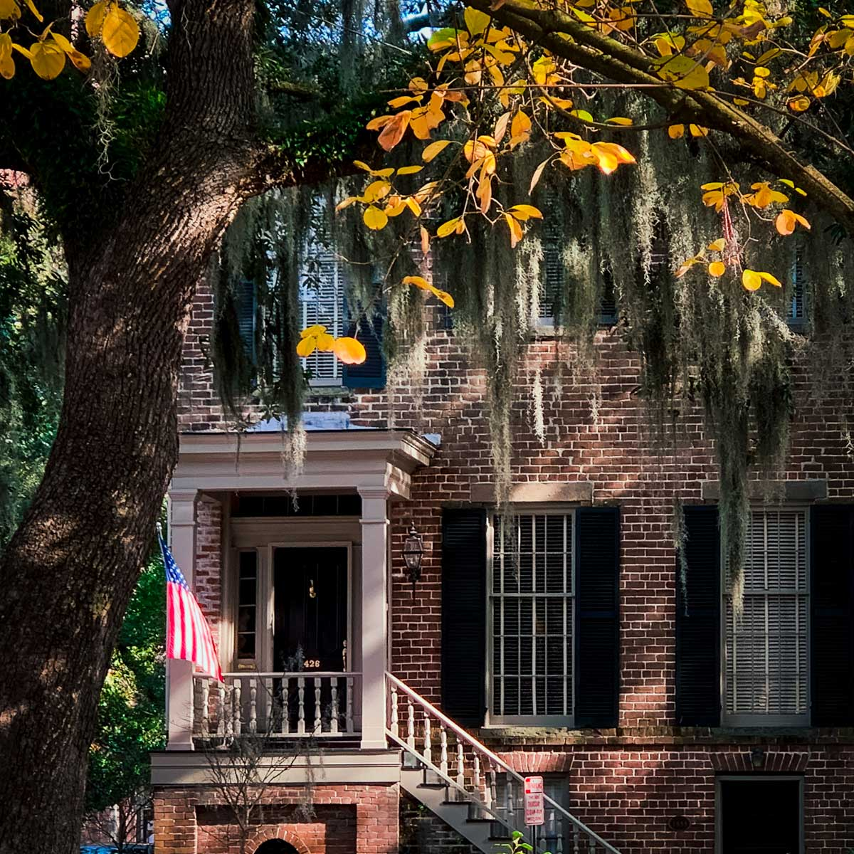 Historic brick home hiding behind some Spanish Moss