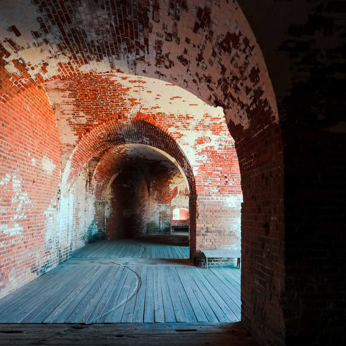 Tunnels inside Fort Pulaski, one of the many cool things to do in Savannah, Georgia