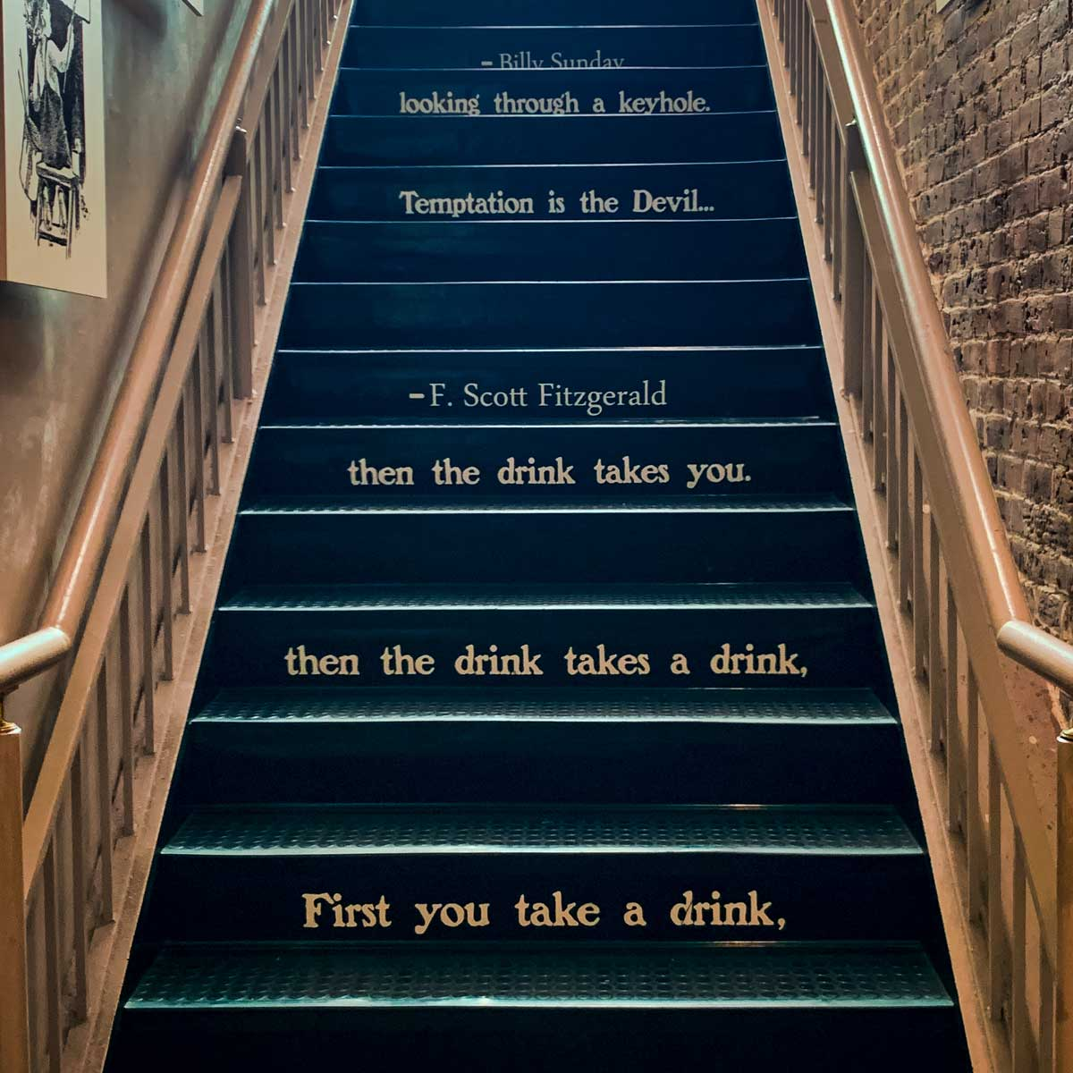 The stairwell inside the American Prohibition Museum