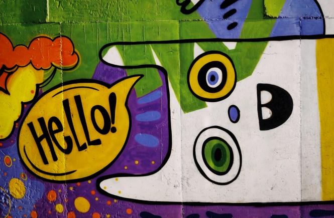 """Graffiti'ed rabbit saying """"hello"""""""