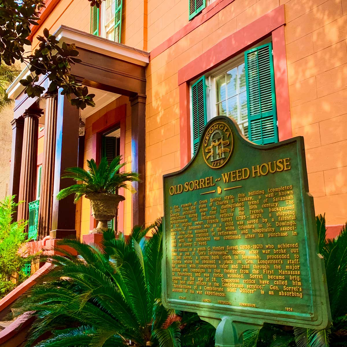 The colorful entry of the Old Sorrel-Weed House, just one of many incredible things to do in Savannah, Georgia