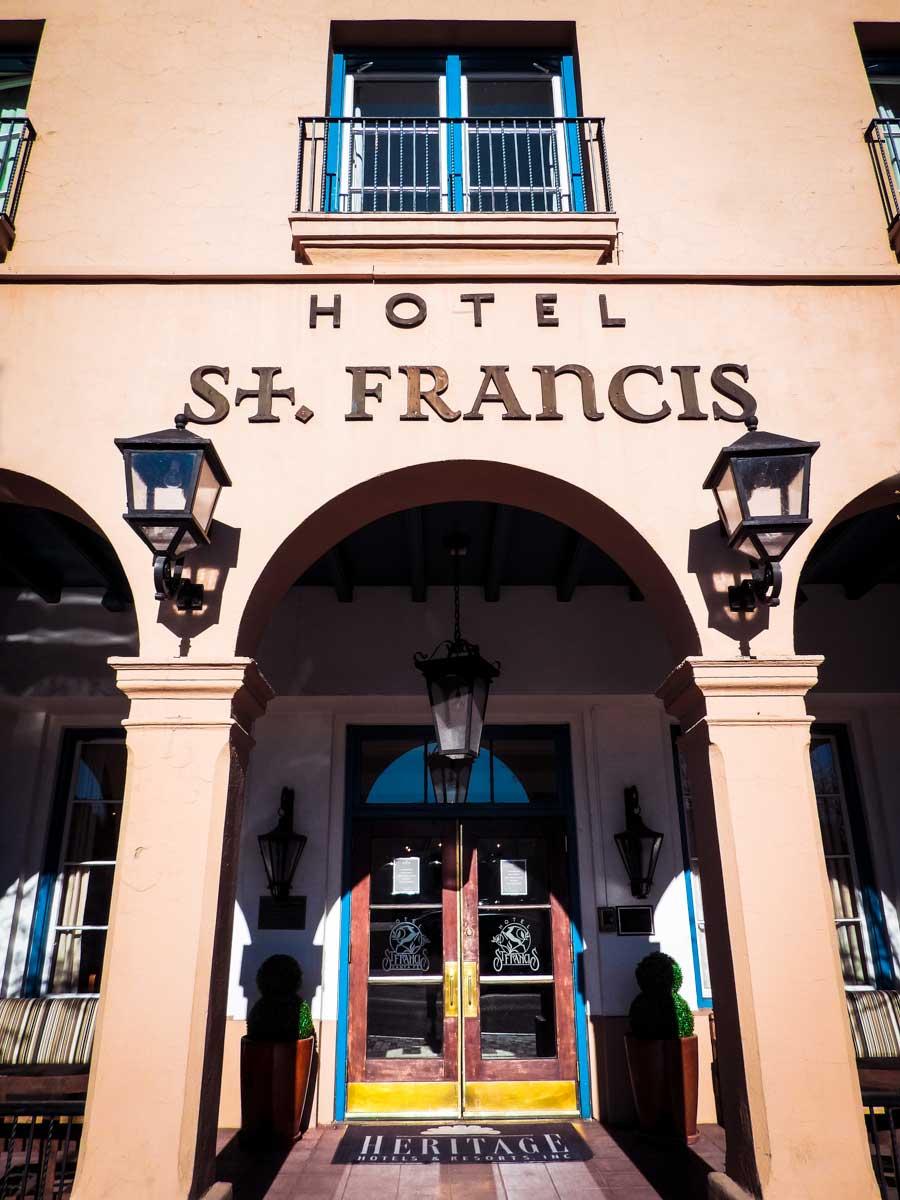 Facade of St. Francis Hotel in Santa Fe