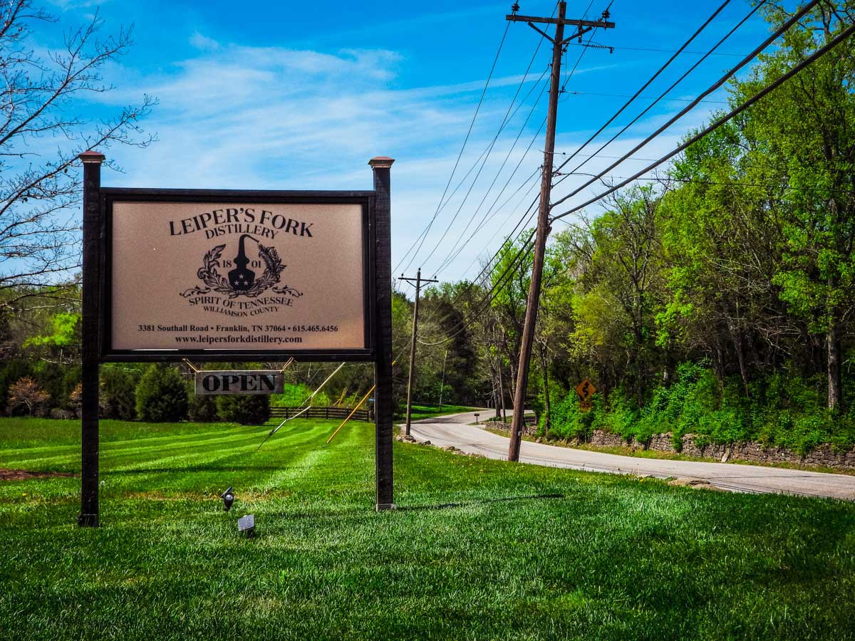 Leiper's Fork Distillery sign, one of many awesome things to do around Franklin, TN