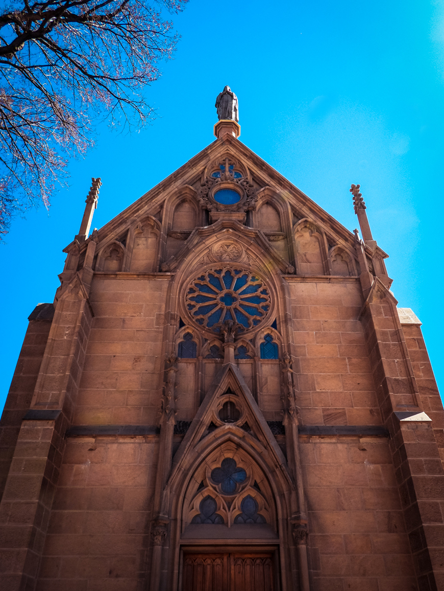 Loretto Chapel facade in downtown Santa Fe, New Mexico