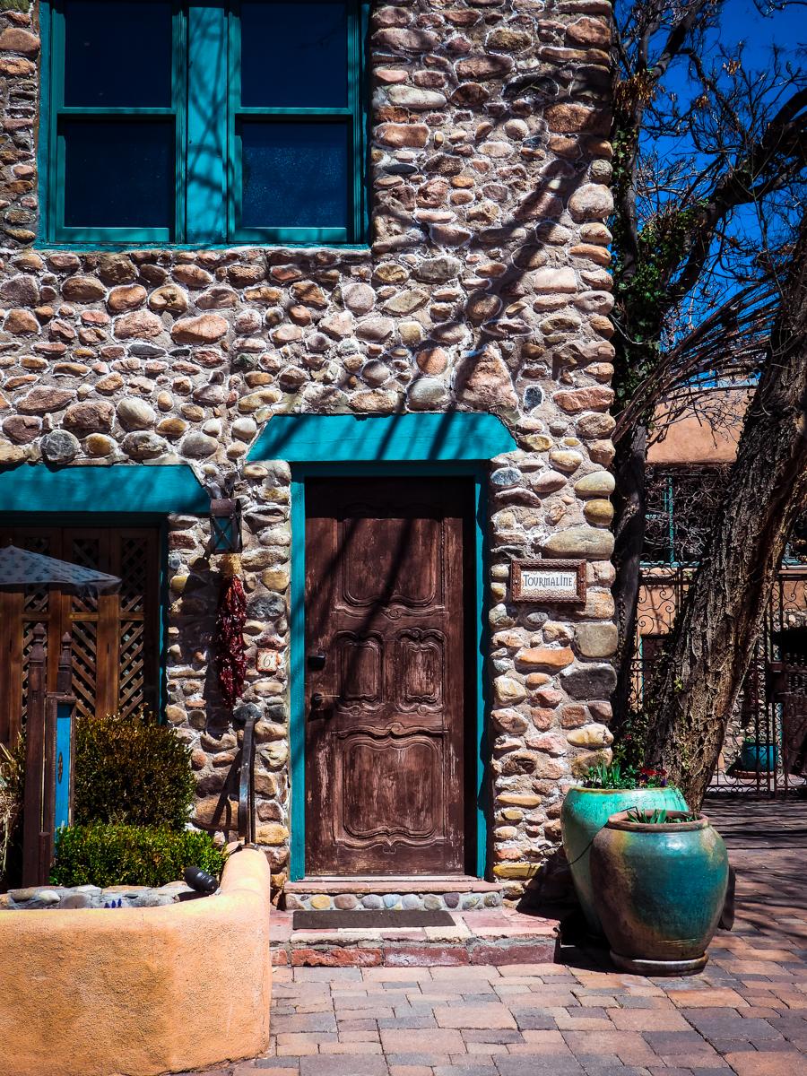 Santa Fe hotel turquoise door