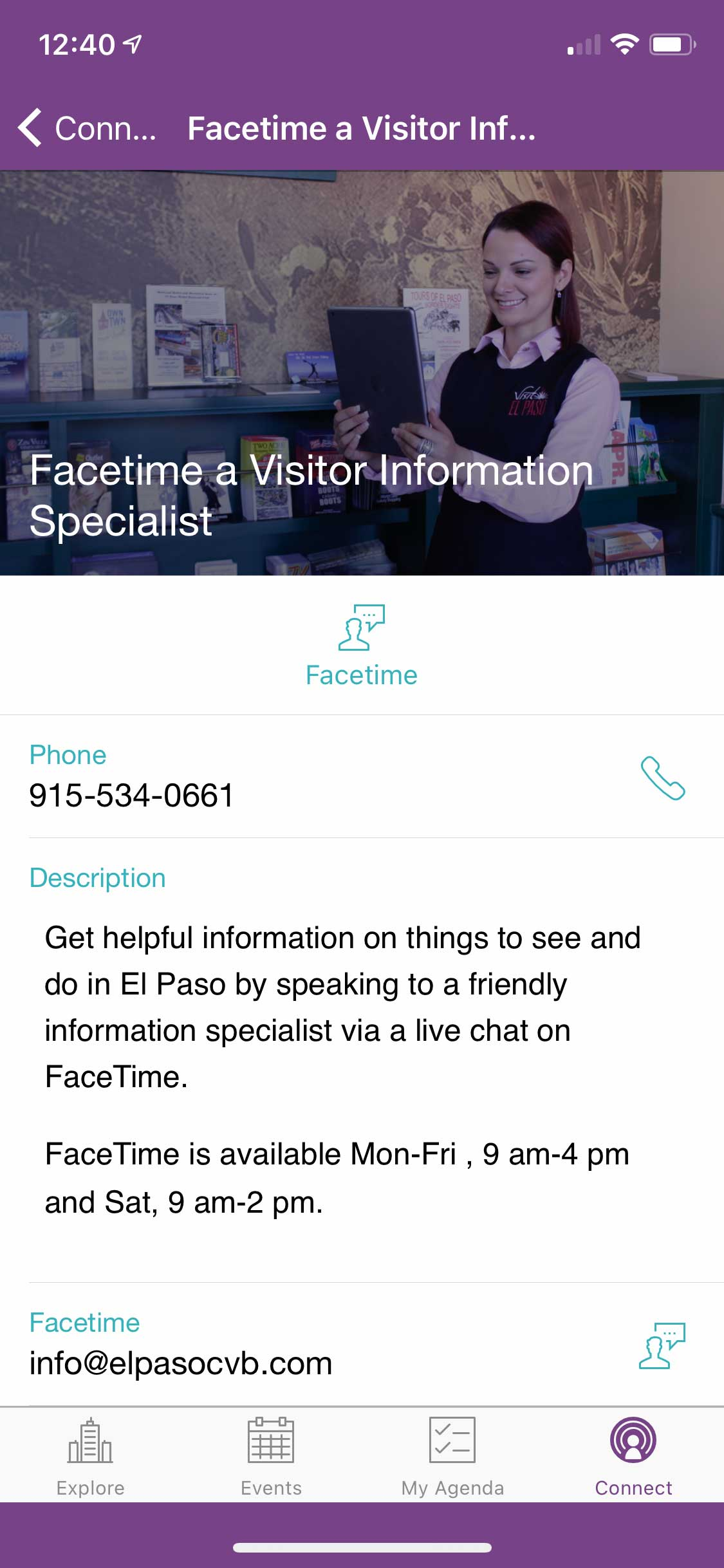 Visit El Paso App Facetime Help