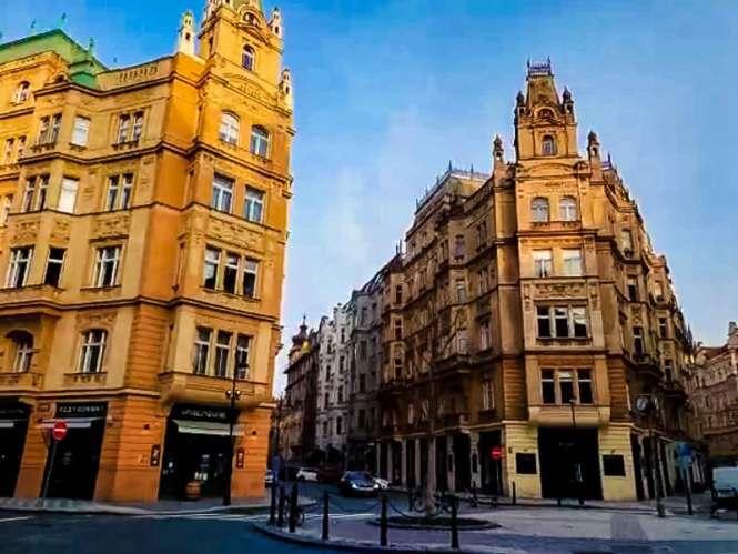 Newer buildings in Prague's Jewish Quarter