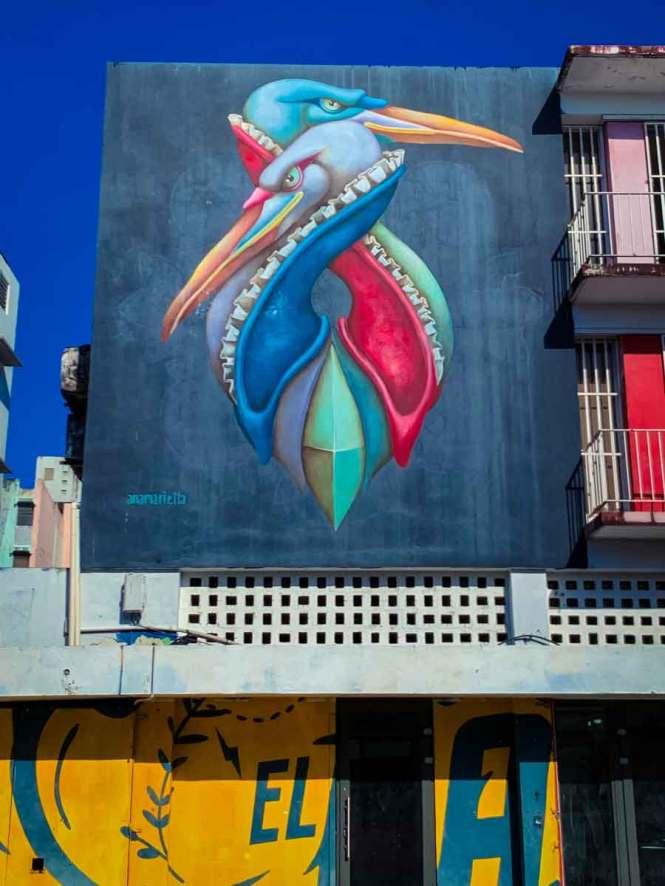 santurce street art of two royal cranes