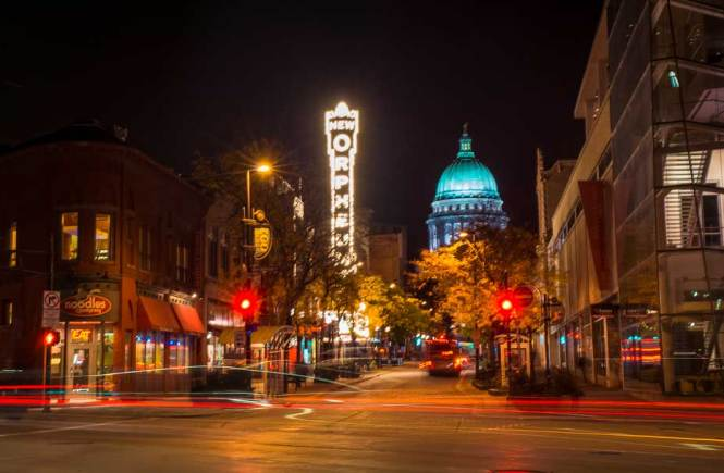 downtown madison wisconsin at night