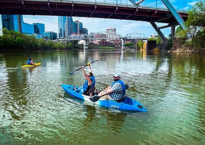 Having fun kayaking downtown Nashville