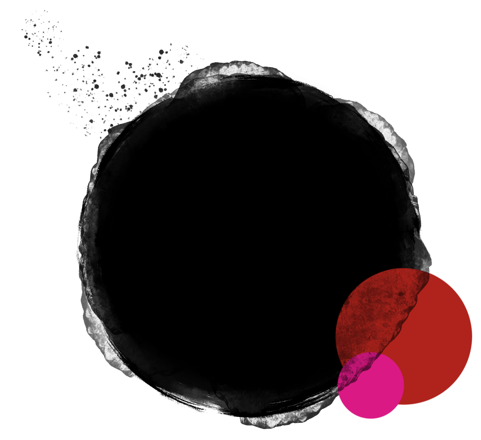 CGDS Logo is three circles of different sizes - black, red, and hot pink, with blurry edges, overlapping, and a bit of a splatter to show movement. This version also shows the centre title.