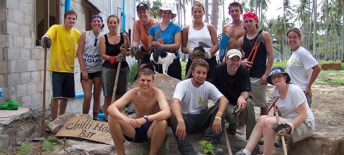 International volunteers on Ko Phi Phi Island