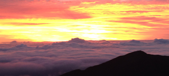 Rise extra early for a romantic sunrise at Haleakala National Park.