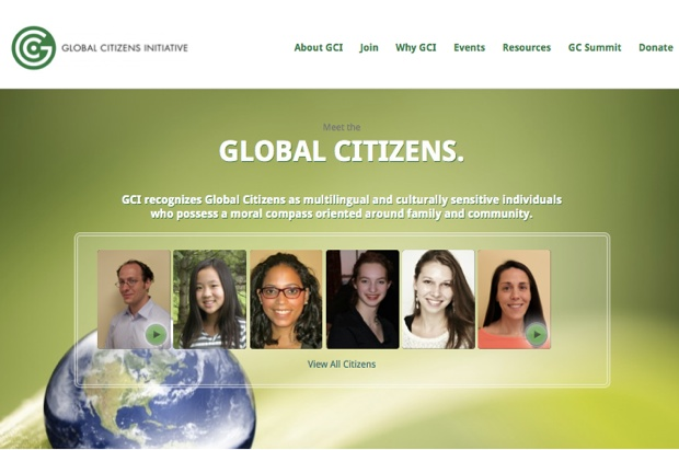 「GLOBAL CITIZENS INITIATIVE」(GCI)のサイト。