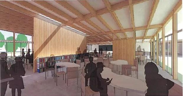 教室棟のラーニングラウンジ。
