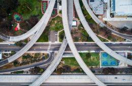 vue aérienne sur route en béton