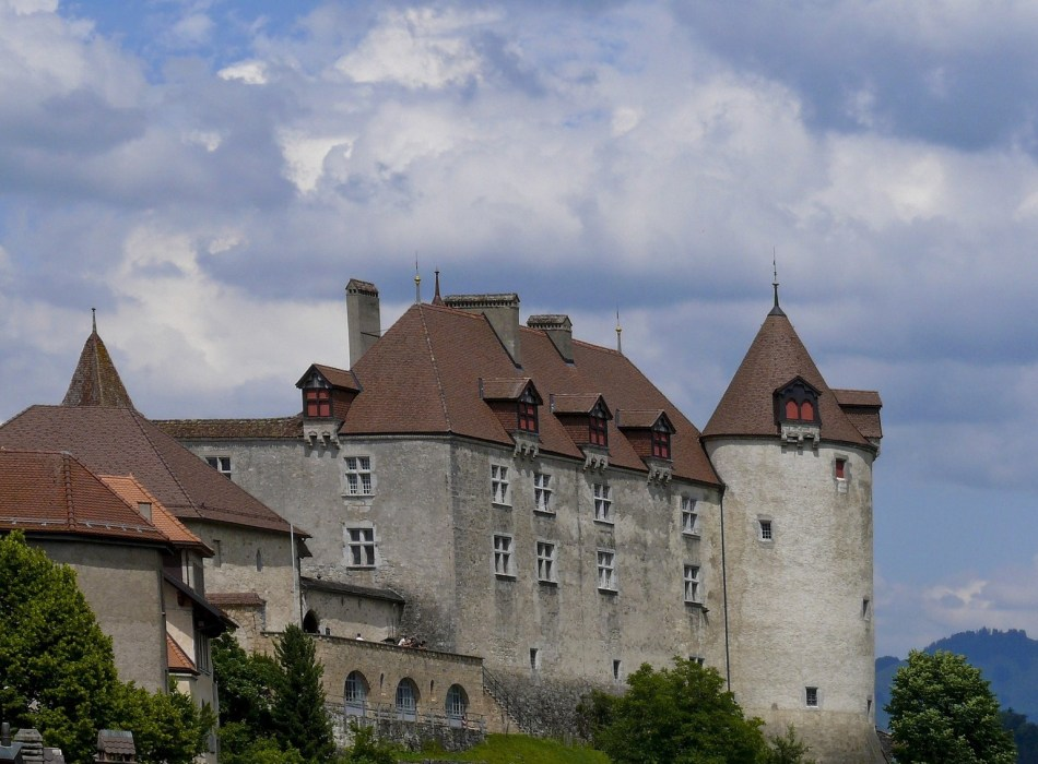 the 800-year-old Gruyeres Castle (Château de Gruyères).