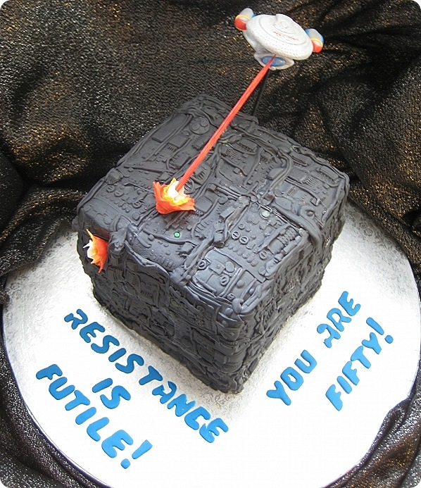 Star Trek Birthday Cake:  The Enterprise vs The Borg [pic]
