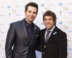 Chris Mann and Elliot Yamin wearing Blue Denim Genes Ribbons
