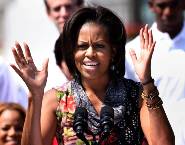 US First Lady Michelle Obama delivers re