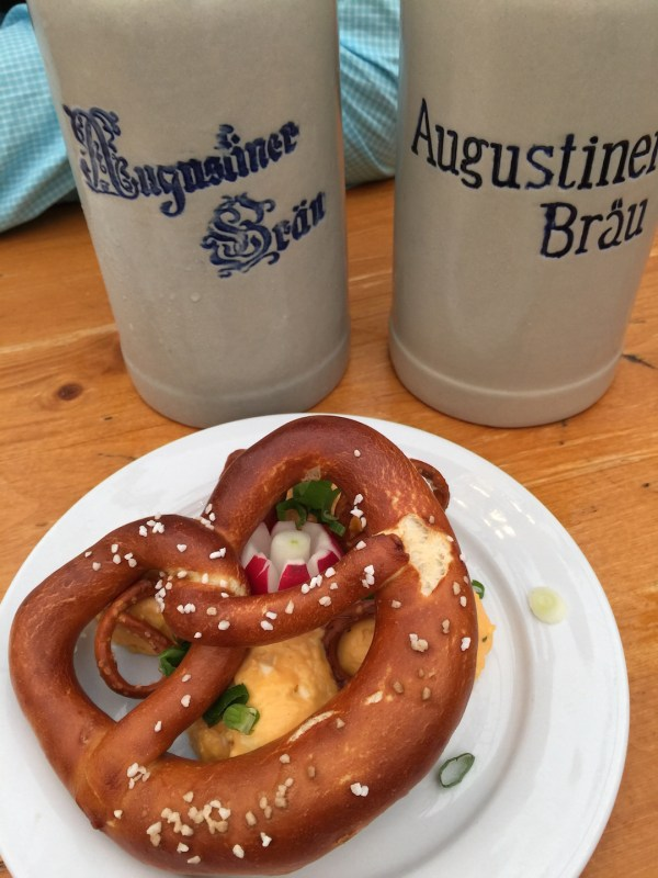 Oktoberfest beer and pretzel