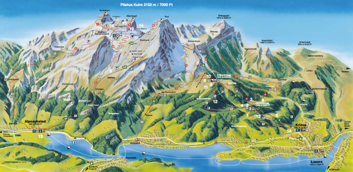Pilatus Summer Hiking Trail Map