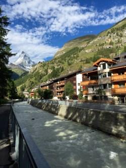 Zermatt Town with River and Matterhorn