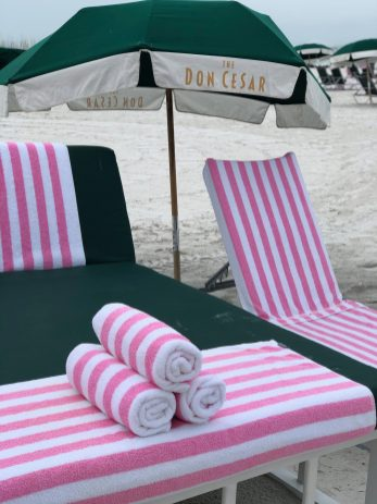 The Don CeSar complimentary towels and lounge chairs