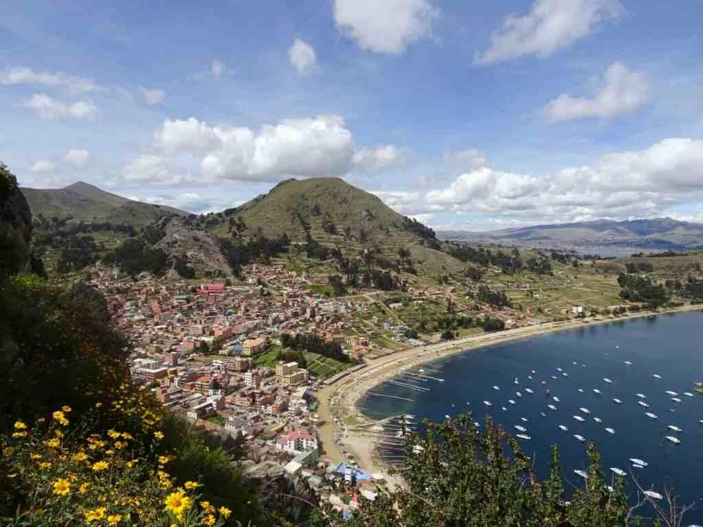View of Copacabana om Lake Titicaca