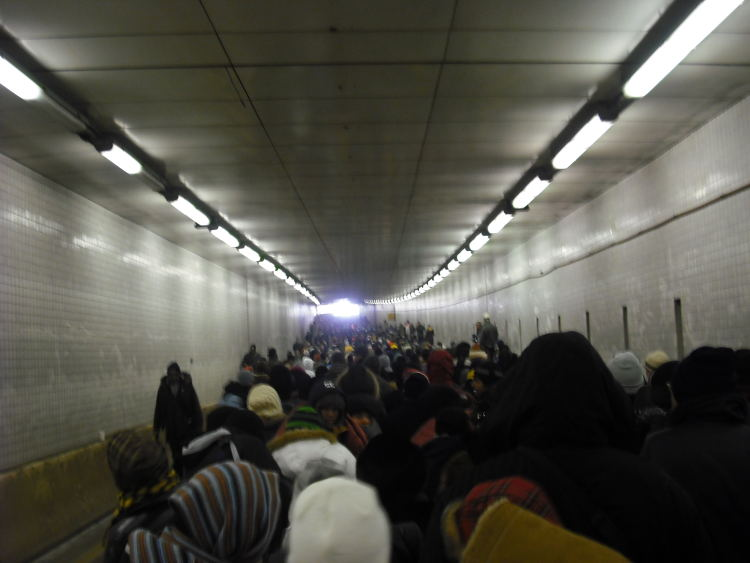 The scene from the narrow part of the 395 tunnel, where thousands of ticket holders were stuck for hours--most never got in.