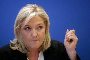 Marine Le Pen, leader of France's National Front, speaks in Nanterre near Paris on July 16, 2015. (AP Photo/Christophe Ena)