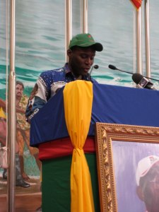 Teodorín Obiang giving a speech as Minister of Agriculture in 2010. (Creative Commons/Embassy of EG)