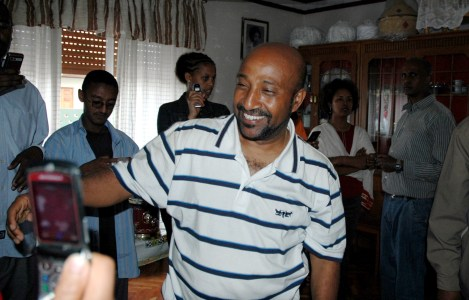 Berhanu Nega, who was elected mayor of Addis Ababa in 2005, celebrates after his pardon and release from prison in 2007. (AP Photo/Anita Powell)