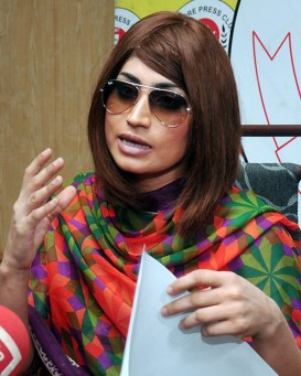 Pakistani fashion model Qandeel Baloch speaks during a press conference in Lahore, Pakistan, June 28. She was strangled to death by her brother in July. (AP Photo/M. Jameel)