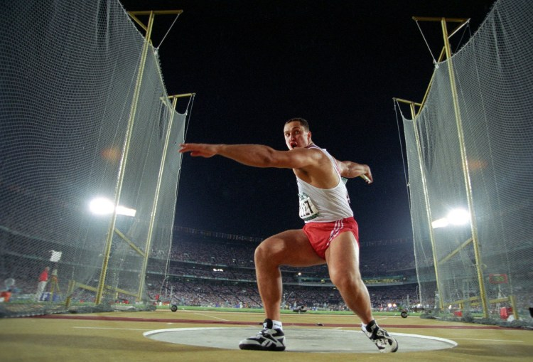 A discus thrower is pictured competing at the 1996 Summer Olympics in Atlanta (Rich Clarkson).