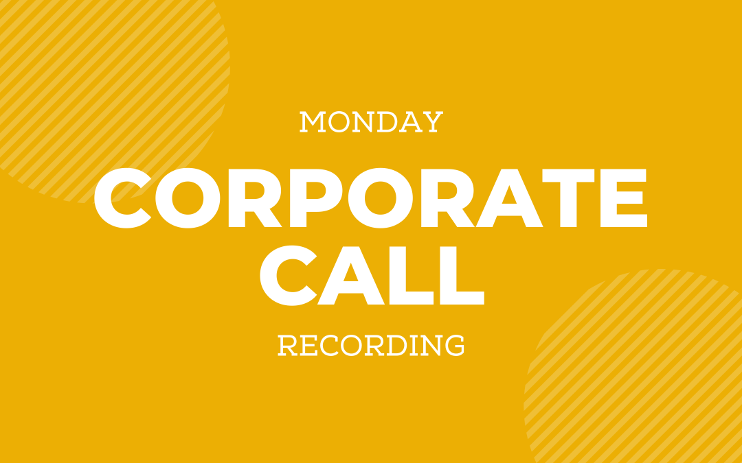Monday 01/04 Corporate Update Call