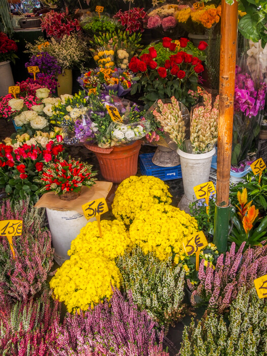 Fresh flower stand in Rome, Italy